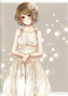 Girl with short blond hair & white sundress by manga artist Rin Hagiwara.