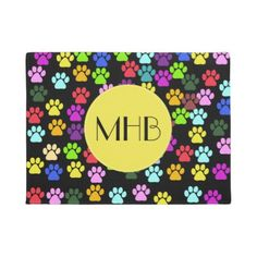 #Monogram - Dog Paws Traces - Red Blue Green Doormat - #doormats #home & #living