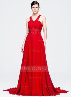 [R$ 445.13] Vestidos princesa/ Formato A Decote V Cauda de sereia De chiffon Renda Vestido de festa com Pregueado Bordado Lantejoulas (017071571)