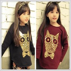 2015 Kid Girls Spring Pastel Gold Owl Print Cotton Shirts Princess Cute Baby Casual Shirt Children Sweety Outwear Clothing Online with $9.63/Piece on Smartmart's Store | DHgate.com