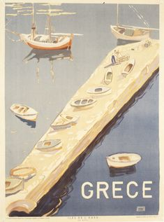 Vintage travel poster of Greece Old Posters, Beach Posters, Vintage Seed Packets, Poster Pictures, Vintage Tins, Vintage Travel Posters, Designs To Draw, Illustrations, Visit Greece