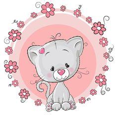 Cute cat with love elements vectors 04