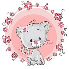 Cute cat with love elements vectors 04