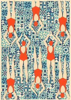 Art Deco Print // Swimmers print // Papercut Print