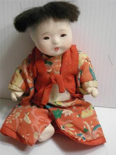 Antique Vintage Japan Japanese Ichimatsu Gofun Doll Silk Clothing Glass Eyes | eBay