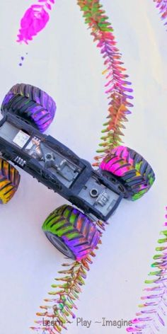 Making Paint Tracks with Toy Trucks ~ Learn Play Imagine