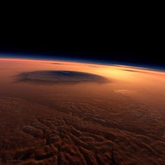 -- The Martian volcano Olympus Mons --Olympus Mons is a volcanic mountain on Mars. It is a little under three times as tall as Mount Everest and is the tallest known volcano in the Solar System. - Image Credit: Kees Veenenbos - via Jean-Baptiste Faure Cosmos, Space Planets, Space And Astronomy, Carl Sagan, Nasa, Mars Pictures, Mars Photos, Space Photos, Earth From Space