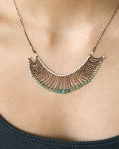 Oxidized greens necklace.
