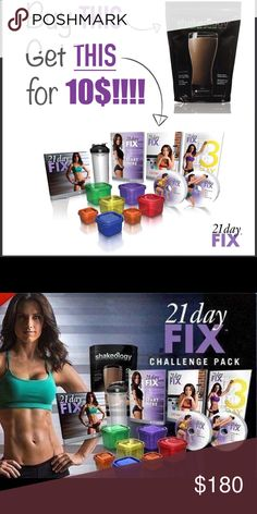 21 day fix challenge pack with Shakeology This is the popular workout program from Autumn Calabrese called 21 day fix.  The item is brand new and the DVDs and containers  have not been removed from the plastic. Purchase 1 month of Shakeology and receive 21 day fix for only $10'more!! Do not purchase this listing!!! Comment below for details and price. The price below is NOT the price you pay!!!  Includes: 1 month of Shakeology  21 day fix  Workout DVDs  21 day fix portion containers…