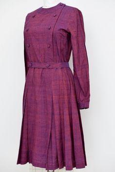 Vintage purple / orange shades long sleeve dress ~ size S-M #Unbranded
