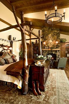 cabin bedroom- I love girly stuff but I'd much rather have a bedroom that a MAN wants to sleep in.