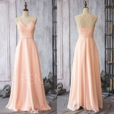 2016 Peach Chiffon Bridesmaid dress, Chiffon Wedding dress, Spaghetti Strap Party dress, Long Formal dress floor length (F089)-Renzrags