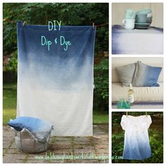 Dip Dye Collage – My Unique Wardrobe How To Tie Dye, How To Dye Fabric, Crafts To Sell, Diy And Crafts, Kids Crafts, Patriotic Crafts, Patriotic Party, Canvas Drop Cloths, Tie Dye Crafts
