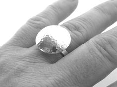 Hammered sterling silver floating dome ring, domed circle flat band ring…