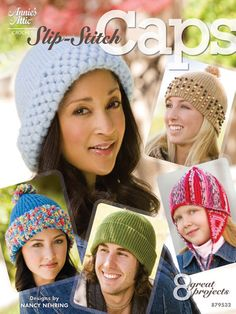 8 totally wearable caps, all made in crocheted slip stitch, make up this very versatile collection.   A variety of yarns and styles will make these favorite projects for everyone you know. You'll be amazed at what simple slip stitches can do. These terrific toppers will keep your hooks flying! 16 pages, 8 projects.