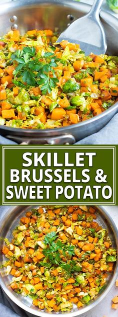 Skillet Brussel Sprouts and Sweet Potatoes | Vegan, Paleo
