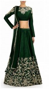 Beautiful dark green shantoon, raw silk and net designer crop top lehenga which is ornamented with a resham embroidery work on the skirt part. This attire comes with matching dupatta. This unstitched choli can be stitched in the maximum bust size of 54 inches...