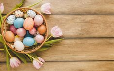 Download wallpapers Easter eggs, decoration, wooden background, Easter, pink tulips