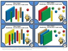 Place Value Games MAB Blocks 2nd Grade Common Common Core: Here are 30 task cards to help your students review hundreds, tens and ones with visual models in your math centers or stations. Ideas for games and activities are provided. A student response form and answer key are also included.     CCSS.Math.Content.2.NBT.A.1   CCSS.Math.Content.2.NBT.A.1a   CCSS.Math.Content.2.NBT.A.1b