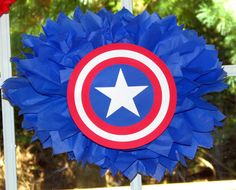 Captain America Superhero tissue paper pompom by TheShowerPlanner, $9.99