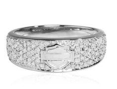 Amazon.com: Harley-Davidson® Womens Sterling Silver Infinity Circle Diamond Ring. HMR0004: Harley-Davidson®: Jewelry