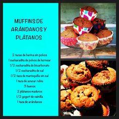 Muffins arandano platano de virginia demaria Yogurt, Brownies, Breakfast, Desserts, Food, Cupcakes, Cooking Recipes, Fun Recipes, Sodium Bicarbonate