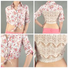 ShopKissandTell Floral crop top with crochet back