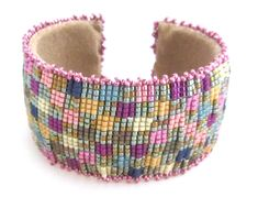 Pastel Checkerboard Cuff Bracelet by Mirrix Tapestry & Bead Looms