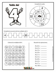 Abc Worksheets, 3rd Grade Math Worksheets, Third Grade Math, School Worksheets, English Lessons For Kids, Learn English Words, Multiplication Activities, Math Activities, Math Sheets