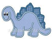 Dinosaur T-Rex Cute Boys Applique Machine Embroidery Design Pattern Download Blue. $3.50, via Etsy.