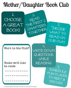 Free printable -- steps for starting a mother daughter book club!