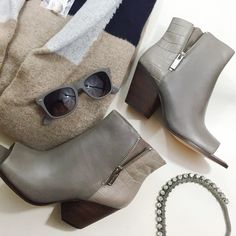 "Cole Haan Croc and Zipper Detail Ankle Boots Size 9 open toe booties with distressed leather at the front and croc embossed leather at the back. Side zippers and decorative zippers. Grayish taupe in color. 2.5"" heel. Brand new in box.  12081503 Cole Haan Shoes Ankle Boots & Booties"