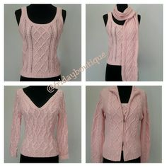 New - 4 Piece Set, 2 Tops, Scarf, & Sweater Very Rare. Tops are size small 4/6 - Sweater size large. Sweater has double zipper, can be zipped normal or open from top and bottom as shown in cover shot. Tops