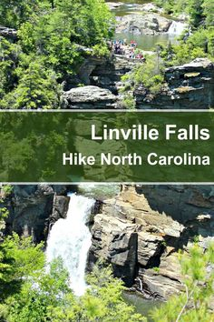 Linville Falls in North Carolina's Blue Ridge Mountains drops 90 feet into the Linville Gorge. It has 2 hiking trails, a visitor center and camping nearby. North Carolina Vacations, Camping In North Carolina, North Carolina Mountains, Carolina Beach, Waterfalls In North Carolina, Camping Places, Places To Travel, Places To Go, Camping Gear