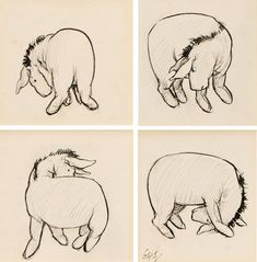 Pin the tail on the donkey    A set of four original drawings illustrating Eeyore's search for his missing tail