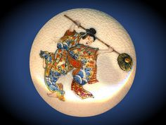Image Copyright RC Larner ~ Large Very Fine Satsuma Pottery Lady Dancer in Roiling Waves Kimono Button ~ R C Larner Buttons at eBay & Etsy        http://stores.ebay.com/RC-LARNER-BUTTONS and https://www.etsy.com/shop/rclarner