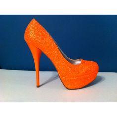 NEON Orange Glitter Heels - HOT Summer Color - Sparkle Pumps found on Polyvore
