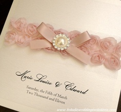 Pretty White and Pink Wedding Invitations - Sophia Collection