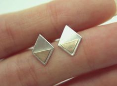 Sterling silver & 9ct gold geometric earrings by AetherDesign, £45.00