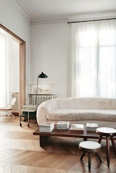 modern minimalism | herringbone floor envy - and how dreamy is that velvet sofa?! | kinfolk