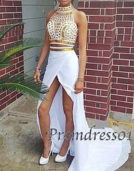 #promdress01 prom dresses, 2015 white chiffon high neck two pieces front slit long senior prom dress, ball gown, occasion dress for teens #prom2k15 #promdress -> http://www.promdress01.com/#!product/prd1/4150315881/white-high-neck-two-pieces-long-senior-prom-dress