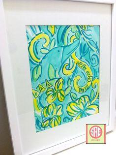 Tri Delta Lilly Pulitzer Inspired Watercolor. $20.00, via Etsy.