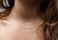 Layering Necklace Satellite Chain & Delicate Chain Gold Filled Necklace, Simple Everyday Jewelry - FREE SHIPPING