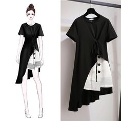 fashion Korean Large Size Women's Sets Summer Dress 2019 New Women Short Sleeve . - - fashion Korean Large Size Women's Sets Summer Dress 2019 New Women Short Sleeve Suit Dress Skirt Suit Source by Cipibaghomedesign Fashion Drawing Dresses, Fashion Illustration Dresses, Fashion Dresses, Skirt Fashion, Fashion Clothes, Hijab Fashion, Korean Fashion, Fashion Fashion, Fashion Women