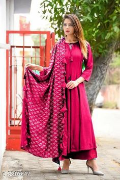 Dupatta Sets Women Rayon Flared Solid Long Kurti With Palazzos And Dupatta Fabric: Kurti: Rayon Palazzo: Rayon Dupatta - Rayon Sleeves: Sleeves Are Included Size: Kurti - M - 38 in L - 40 in XL - 42 in Palazzo - Up To 28 in To Up To 34 in Dupatta - 2 Mtr Length: Kurti - Up To 48 in Palazzo - Up To 40 in Description: It Has 1 Piece Of Women's Kurti & 1 Piece Of Palazzo & 1 Piece Of Dupatta Pattern / Work: Kurti - Solid Palazzo - Solid Dupatta - Tassel Work Country of Origin: India Sizes Available: M, L, XL   Catalog Rating: ★3.9 (450)  Catalog Name: Women Rayon Flared Solid Long Kurti With Palazzos And Dupatta CatalogID_457485 C74-SC1853 Code: 495-3307847-8451