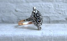 Stunning Antique Victorian Diamond and Sapphire Ring - 0.74ct. on Etsy, Sold