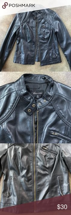 Black Leather Jacket Black faux leather jacket. In like new condition from a smoke/pet free home. baccini Jackets & Coats Utility Jackets