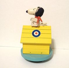 Vintage Snoopy Red Baron Dog House Music Box Japan by yellowfeathr