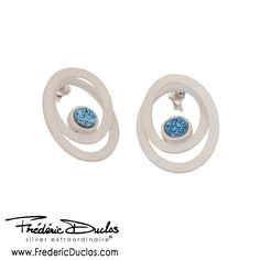Frederic Duclos Sterling Silver Double Matte Oval Blue Drusy Earrings