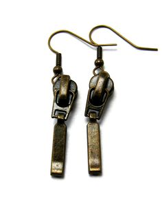 Zipper dangle earrings, recycled zippers in brass tone. $16.50, via Etsy.
